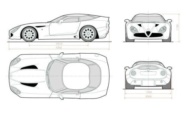 Alfa Romeo TZ3 Stradale Zagato dimensioni
