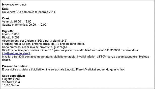 Informazioni utili Automotoretro 2014
