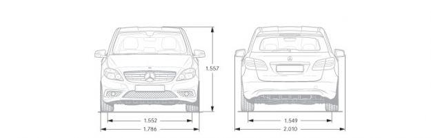 Mercedes Classe B dimensioni frontale
