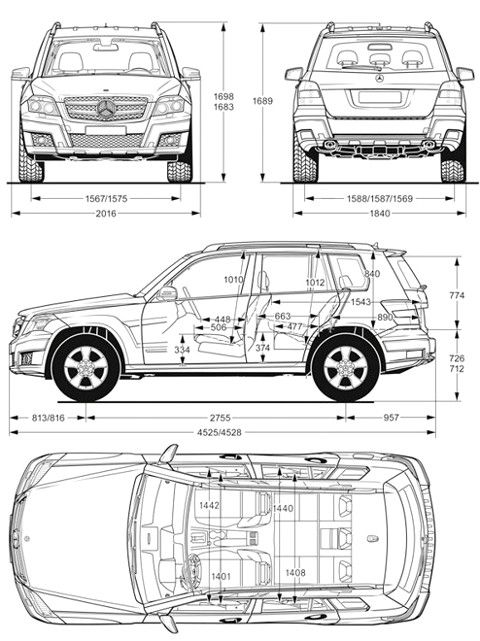 Nuova Mercedes GLK 2012 dimensioni