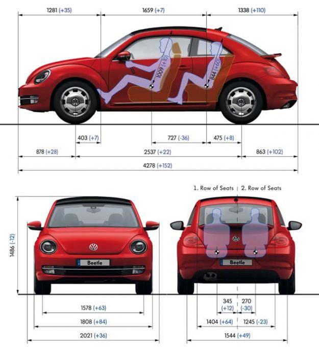Volkswagen Maggiolino 2011 misure