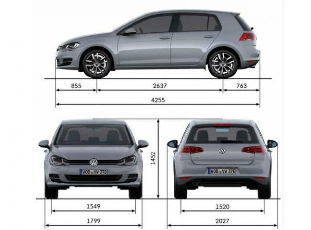 Volkswagen Golf 7 dimensioni