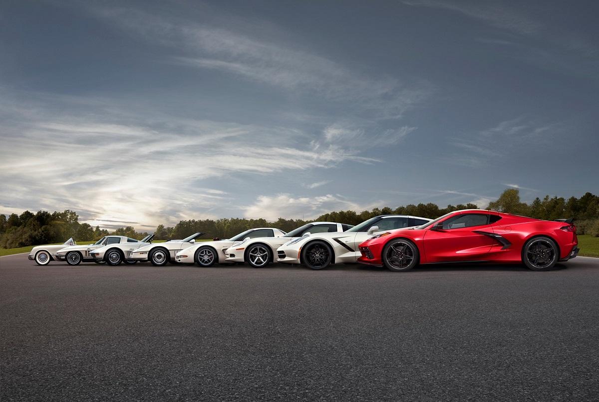 Eight generations of the Chevrolet Corvette Stingray