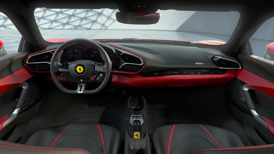 Ferrari 296 GTB panoramica interni