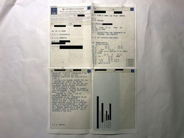 Carta di circolazione: legenda e istruzioni, guida all'uso.