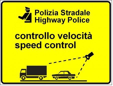 Limiti velocità cartello giallo polizia